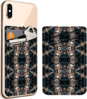 (Oriental Wallpaper Tiles Fantasy) Cell Phone Stick On ID Credit Card Leather Holder Wallet Pocket Pouch Sleeve, Compatible with iPhone, Samsung Galaxy Android Smartphones