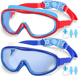 EasYoung 2-Pack Kids Swim Goggles, Wide Vision Swim Goggles for Child from 3-15