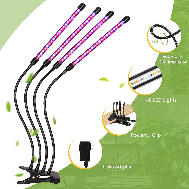 Brillo de 10 Niveles Ajustable y Tubo Giratorio 360 /° de 4 Cabezales para la Germinaci/ón Led Cultivo Interior con 80 LED Grow Light el Crecimiento y la Floraci/ón de las Plantas Espectro Completo