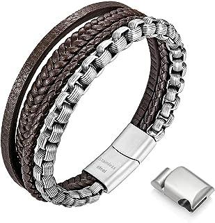 Speroto Mens Bracelets,Leather and Steel Bracelets, Chain Bracelets with Magnetic Clasp,Steel Bracelets for Men