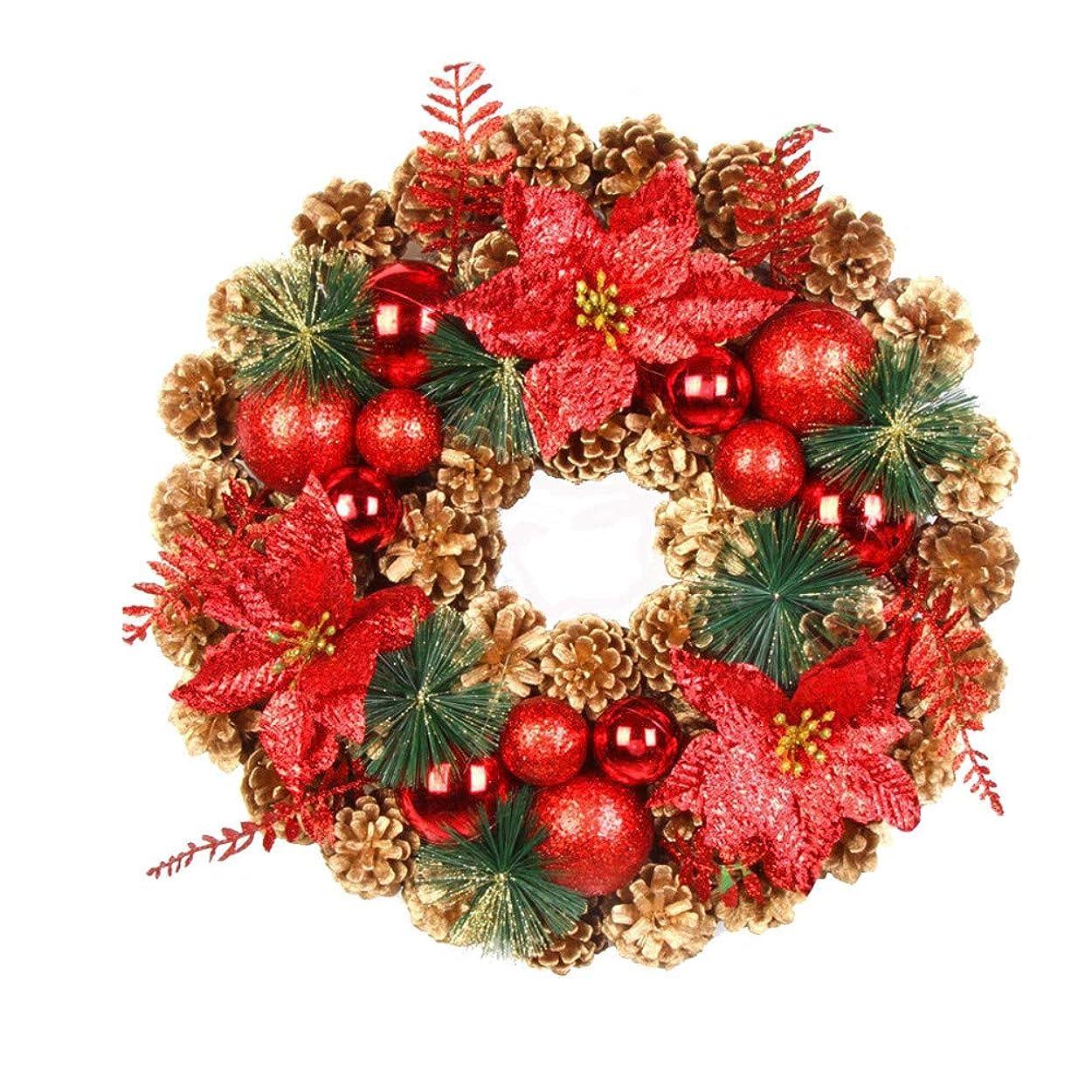 予報食欲取り壊す40 cmのクリスマスの人工的なマツ円錐形の花輪は秋のドアの壁の家の付属品を去ります
