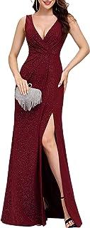 Ever-Pretty Vestido de Fiesta Noche Brillante para Mujer Largo Elástico Dividido V-Cuello 07505