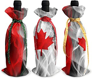 3 Pieces Wine Bottle Bags Canada Champagne Covers Gift Pouches, Used for Holiday Christmas Party Decoration
