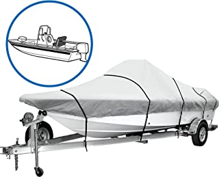 iCOVER Center Console Boat Cover Trailerable Boat Covers Water Proof Heavy Duty, Fits V-Hull Boat Up to 24ft Long and Beam Width Up to 102in, Windshield Height up to 30in, Grey Color, B7302.