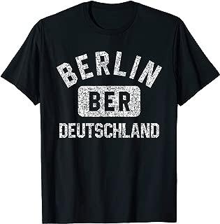 Berlin BER Deutschland Gym Style Distressed White Print T-Shirt