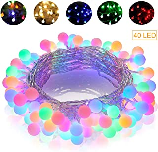 GREEMPIRE String Lights, 14.8 Ft 40 LED Colored Globe String Lights Waterproof Battery Powered Starry Fairy Light for Bedroom Patio Party Garden Wedding Room Decor, Dimmable, 8 Lighting Modes