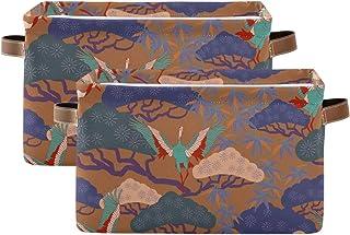 Tropicallife Lot de 2 paniers de rangement F17 - Grue japonaise - Oiseau - Bonsaï - Boîte de rangement pliable en tissu - ...