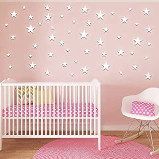 30Pcs Star 3D Wall Decor Mirror Stickers DIY Mixed Size Composed Wallpaper Paste Star Wall Decals for Nursery Bedrooms Liv...