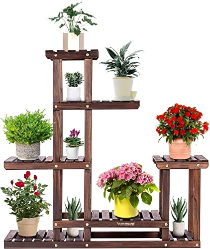 wholesale VIVOSUN Plant Stands for Indoor Plants Wood Outdoor Tiered Plant Shelf for Garden Lawn Patio outlet sale Bathroom Office Living Room Balcony (6 sale Wood Shelves 10 Pots) outlet sale
