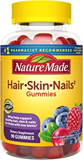 Nature Made Hair, Skin & Nails 2500 mcg Biotin Gummies with Vitamin C, 90 Count