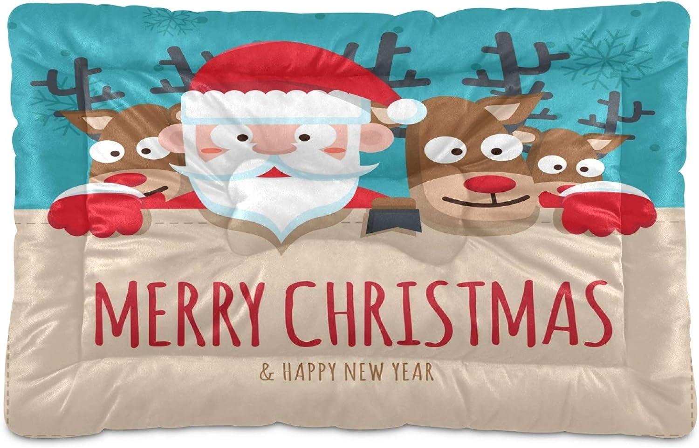 Genuine Bargain Nander Deers Santa Claus Comfortable Dog Beds Mach Pad Mat Crate