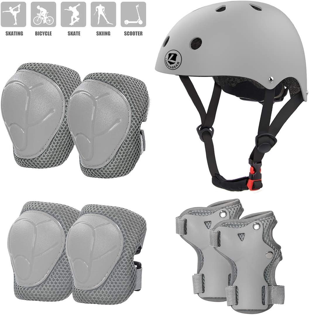 Coderas y Mu/ñequeras para Patinar Ciclismo Monopat/ín y Deportes Extremos LANOVAGEAR Casco Infantil Set de Protecci/ón Casco 2-8 a/ños Ajustable Rodilleras