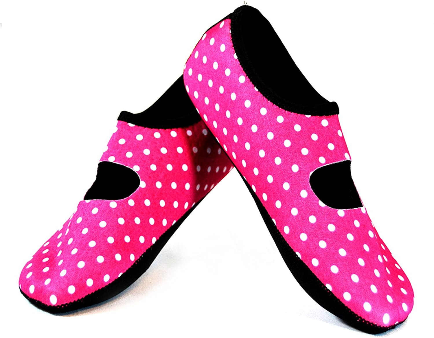 NuFoot Mary Janes Women's shoes, Best Foldable & Flexible Flats, Slipper Socks, Travel Slippers & Exercise shoes, Dance shoes, Yoga Socks, House shoes, Indoor Slippers, Pink Polka Dots, Large
