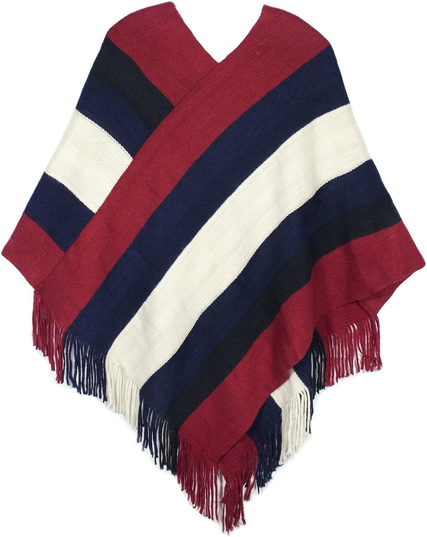 Dahlia Women's Knitted Poncho  V Neck MultiStripe Tassel Cape