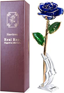 Sinvitron Gold Dipped Rose, Long Stem 24k Gold Dipped Real Rose Lasted Forever with Stand, Great Valentines's Day/Christmas/Wedding/Birthday Gifts for Her(Blue)