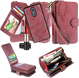 Harryshell Luxury Detachable Magnetic Zipper Wallet Case Clutch Purse with Card Slots Mirror Hand Strap for LG Stylo 5 / Stylo 5 Plus (Wine)