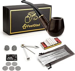 Smoking Pipe, FeelGlad Ebony Tobacco Pipe with Pipe Accessories (wooden)