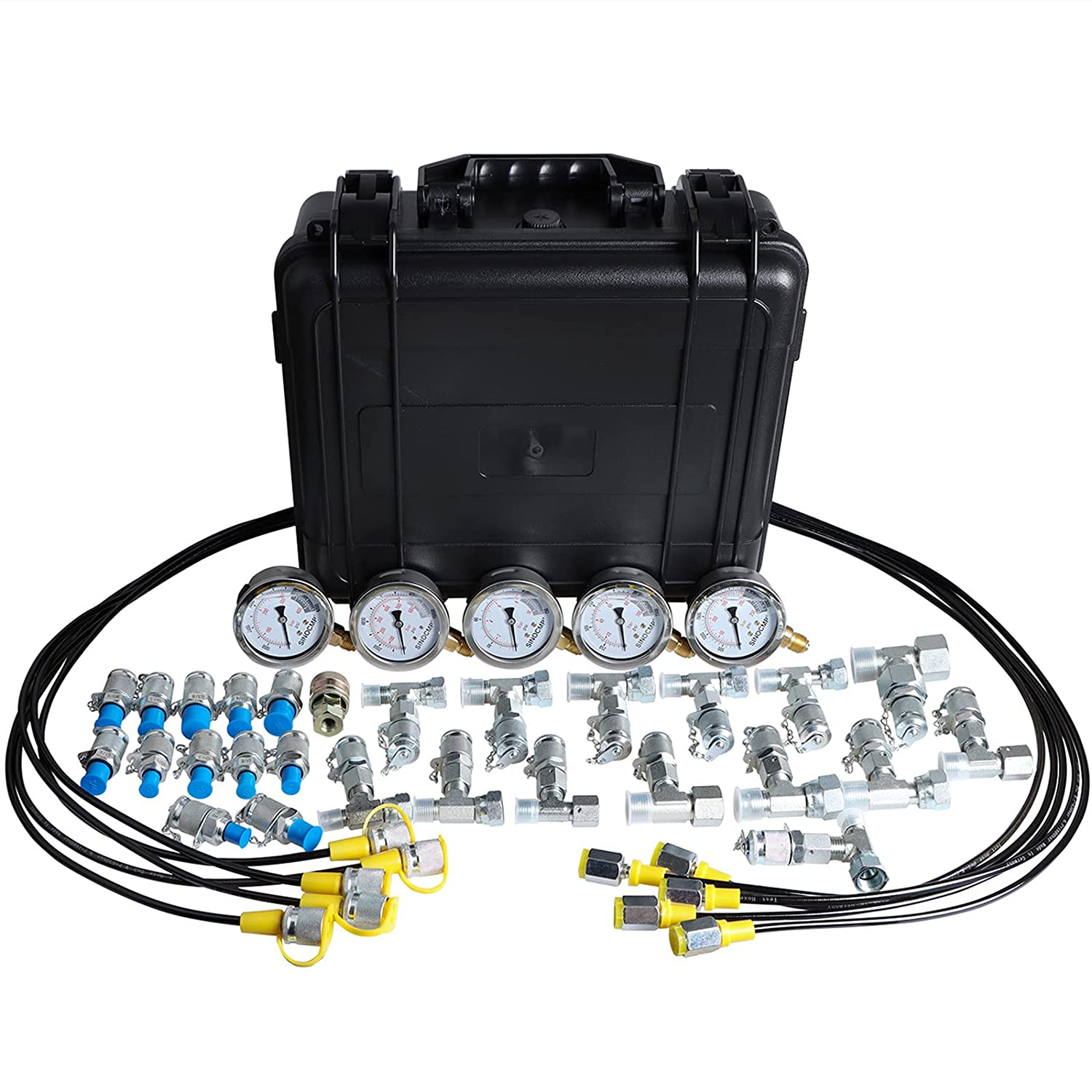 Trust SINOCMP Hydraulic Pressure Test Kit Hoses 5 1 Gauges Max 84% OFF with