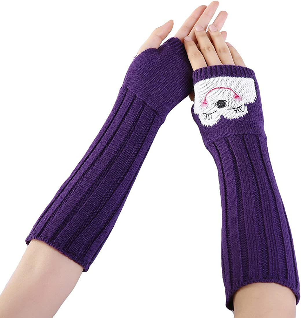 YueLian Women's Knitted Cartoon Arm Warmers Selling rankings SEAL limited product Weat Fingerless Cold