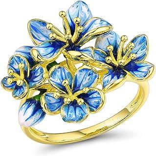 Santuzza Blue Flower Gold Plating Rings 925 Sterling Silver Gorgeous Dangle Glass Handmade Enamel Ring Jewelry for Women