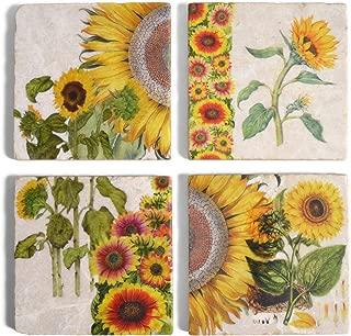 Studio Vertu Sunflower Botanical Marble Coasters, Set of 4