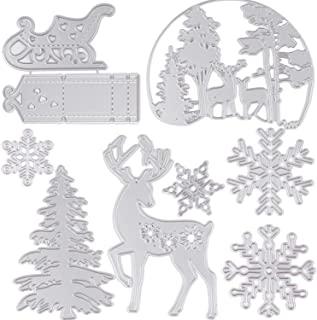SOTOGO 9PCS Christmas Metal Cutting Dies DIY Scrapbooking Album Embossing Mold Christmas Deer Sled Snowflake Christmas Tree Christmas Deer Background Cutting Dies Craft Décor