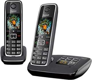 "Gigaset C530A DUO Cordless Phone (Pack of 2) & 1 Answering Machine, 1.8"" TFT Color Screen, 320 Hr Standby, Speaker, 50M In..."