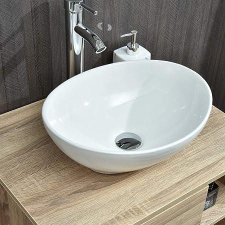 Sinks Modern Bathroom Vessel Sink Porcelain Ceramic Basin Oval Pop Up Drain White 014 Home Garden