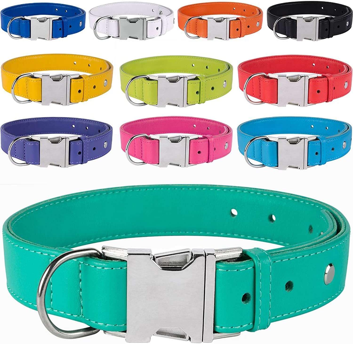CollarDirect Leather Dog Collar, Metal Buckle Soft Genuine colorful Pet Collars for Dogs Puppy Small Medium Large Black Red Pink bluee Green orange (Neck Fit 10 11 , Navy bluee)