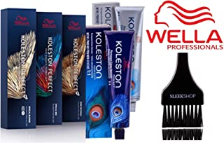 Wella KOLESTON Perfect Permanent Creme Haircolor, 2 oz (with Sleek Tint Brush) (6/34 Dark Blonde Gold Red)
