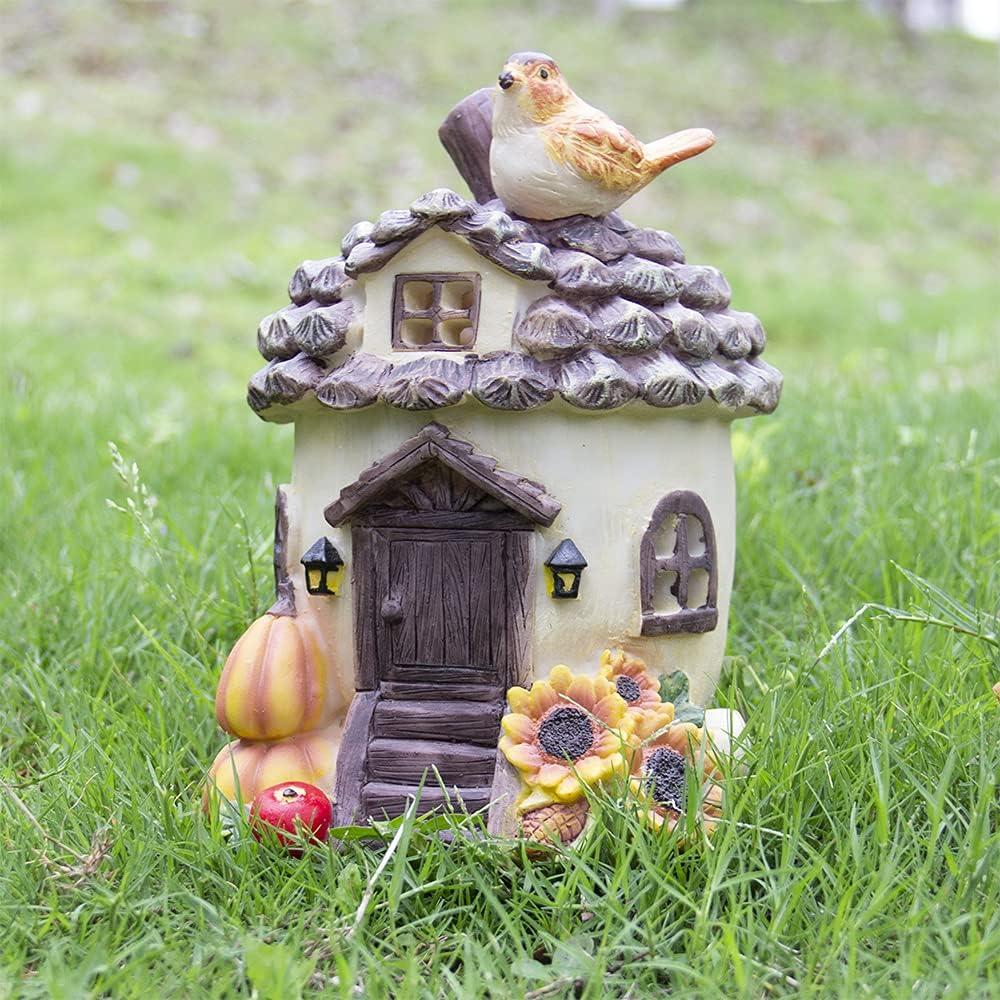 QPURP Fairy Garden House Very popular Outrdoor NEW Statue Pinecone Gnomes