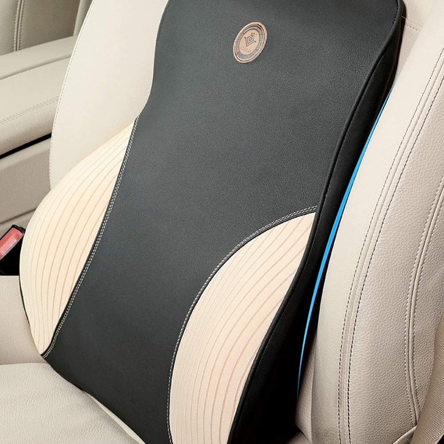 Chair Seat Cushion Car Waist Support Memory Foam Backrest Full Support Lumbar Support Office Chair (color   Beige, Size   Free Size)