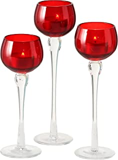 WHW Whole House Worlds Baby Red Long Stem Candle Holders, Set of 3, Clear Riser, Hand Lacquered Glass, 8 3/4, 7 3/4, and 7 Inches Tall, for Votives and Tea Lights