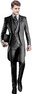 Everbeauty Men's Handsome 3 Pieces Tailcoat Suit Set Business Suit for Men Formal Wedding Attire 2020 EXZ001