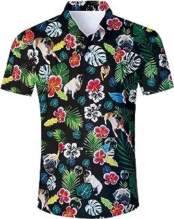 8c5b865e Uideazone Men Hawaiian Shirts Summer 3D Printed Short Sleeve Button Down Aloha  Shirt