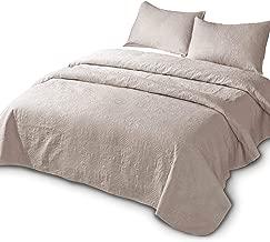 DOMDEC Bedspread Mini Set Light Weight Coverlet Set Oversized Pre-Washed 3 Piece Quilt Set Solid Color (Camel, Oversize King Set)