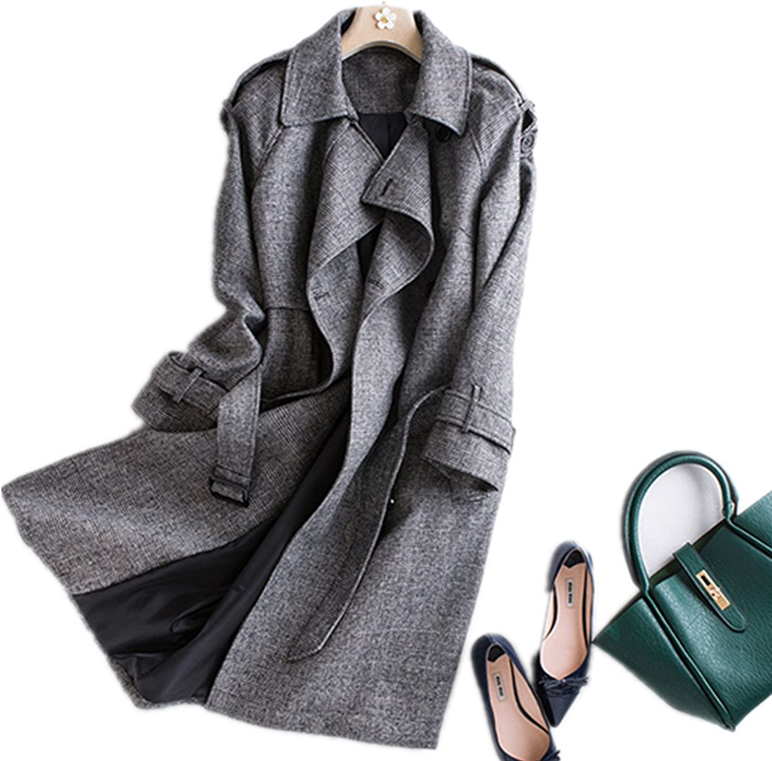 Bobbycool Womens Fashion Personality Grey Wool Coat