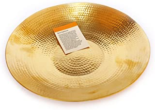 De Kulture Works Handcrafted Pure Brass Fruit Platter Charger Plate Serving Tray Centrepiece 10' D (Inches) (Gold)