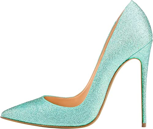 DYF AHommesde Chaussures Grande Taille Couleur Solide Forte Bouche Peu Profondes,12cm,34,Cyan