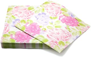 """SIMULINEN Disposable Dinner Napkins– Decorative & Fancy Spring Peonies Dinner Napkins – Soft, Absorbent & Durable – 16""""x16"""" – Pack of 50"""