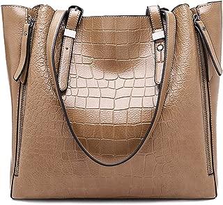 Women Top-Handle Bags PU Leather Women Messenger Bags Double Strap Big Shoulder Bags Khaki