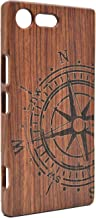 Sony Xperia XZ1 Wooden Case, PhantomSky Premium Natural Unique Handmade Handy Real Wood Cover for Sony Xperia XZ1 - Rosewood Compass
