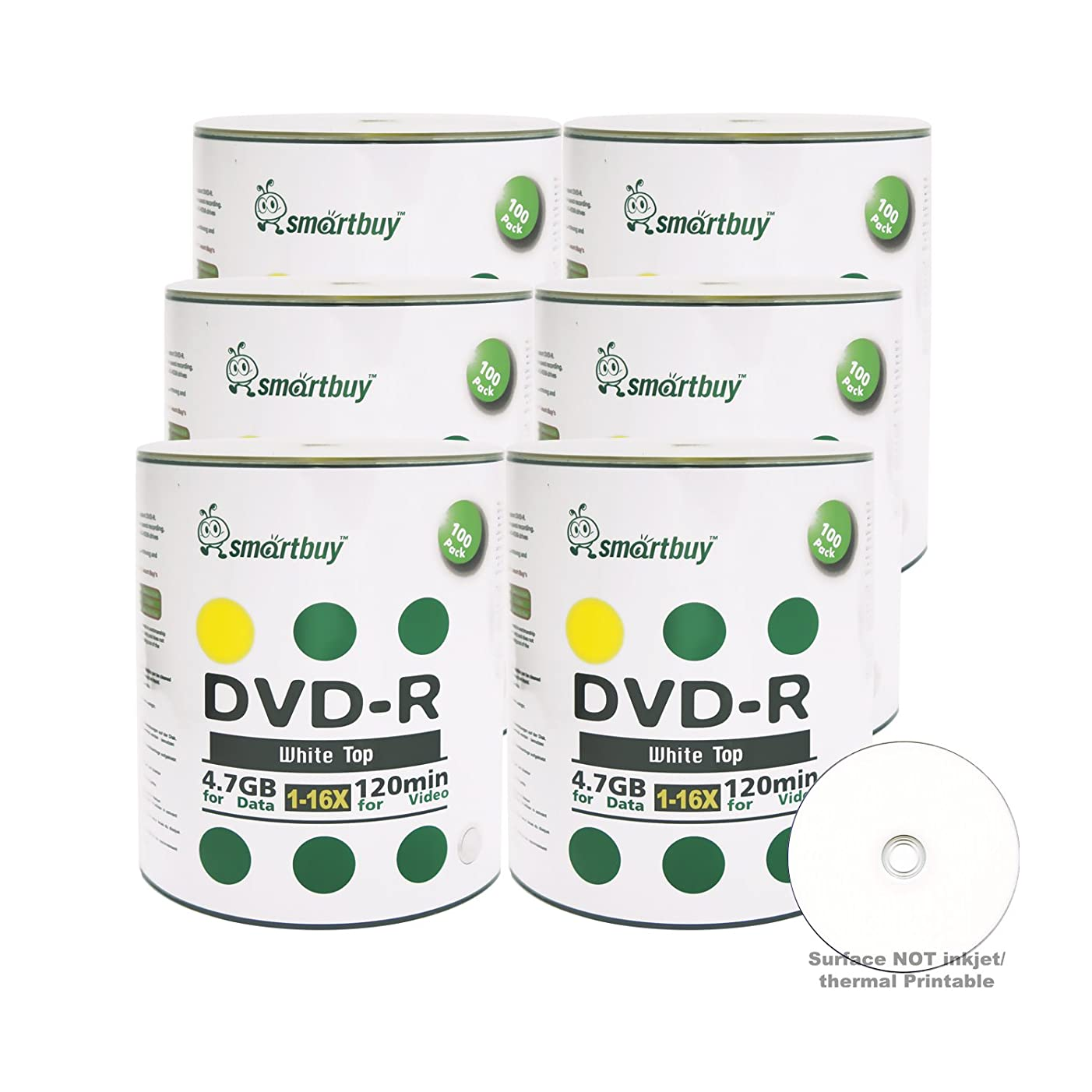 Smart Buy 600 Pack DVD-R 4.7gb 16x White Top Blank Data Video Movie Record Disc, 600 Disc 600pk