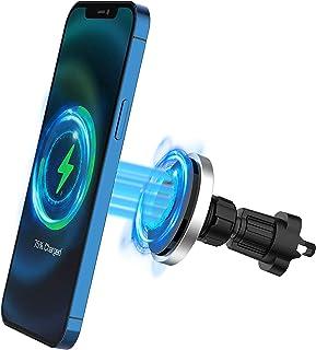 Trådlös biltelefonladdare, magnetisk bilmontering telefonhållare 360° rotation stark magnet bilfäste för iPhone trådlös la...