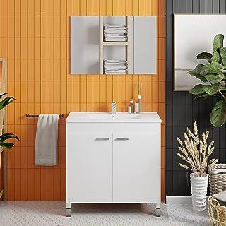 Crocket meuble salle de bain wc Kneiff 80 avec vasque et miroir - en bois blanc - meuble sous lavabo de rangement - 80 x 8...