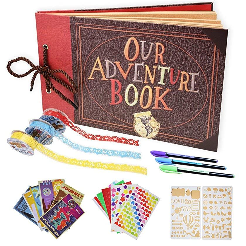Tounhere Adventure Book Scrapbook Album – DIY Photo Album for Wedding, Anniversary, Adventures & Travels – Great Scrapbook Starter Kit for Kids and Adults – Ideal as a Birthday, Thanksgiving Gift