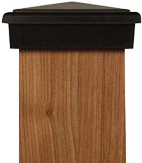 4x4 Post Cap | Black New England Pyramid Style Slim Profile Square Top for Outdoor Fences, Mailboxes and Decks, by Atlanta Post Caps