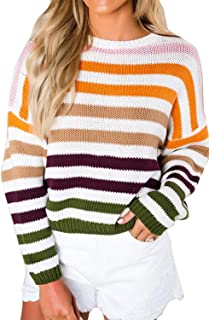 Women Lightweight Sweater Striped Color Block Oversized Casual Crew Neck Long Sleeve Knit Pullover Jumper Tops