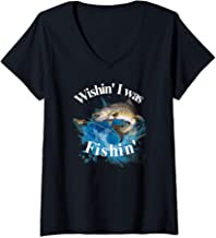 Womens Fishing Wishin I Was Fishin V-Neck T-Shirt