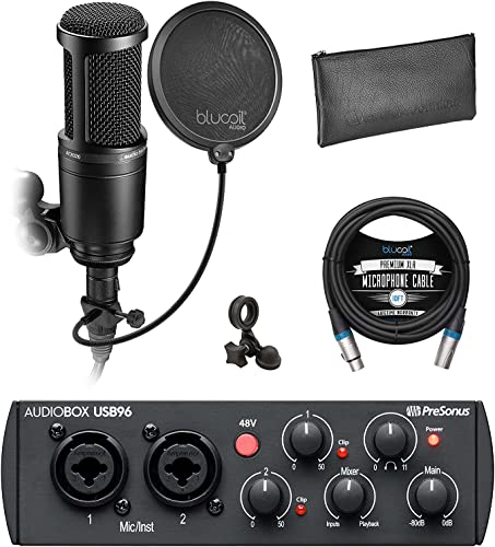 PreSonus AudioBox USB 96 Audio Interface 25th Anniversary Edition for Mac and Windows Bundle with Audio Technica AT2020 Condenser Microphone, Blucoil 10' XLR Cable, Pop Filter, and 5x Cable Ties